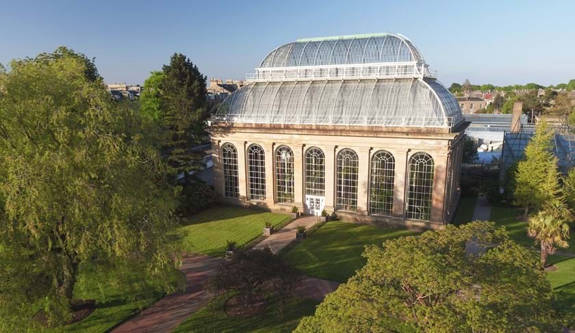 Aerial view of the  Victorian Palm House in Edinburgh