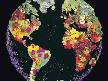 The world with continents represented with flowers and leaves