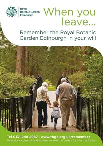 Front cover of the When You Leave leaflet asking people to remember the Royal Botanic Garden Edinburgh in their will.