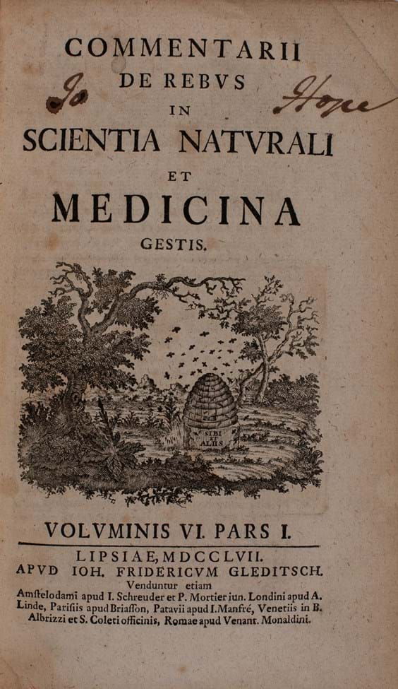 Title page of 'Commentari de Rebus in Scientia Naturali' volume 6 (1747) with John Hope's signature