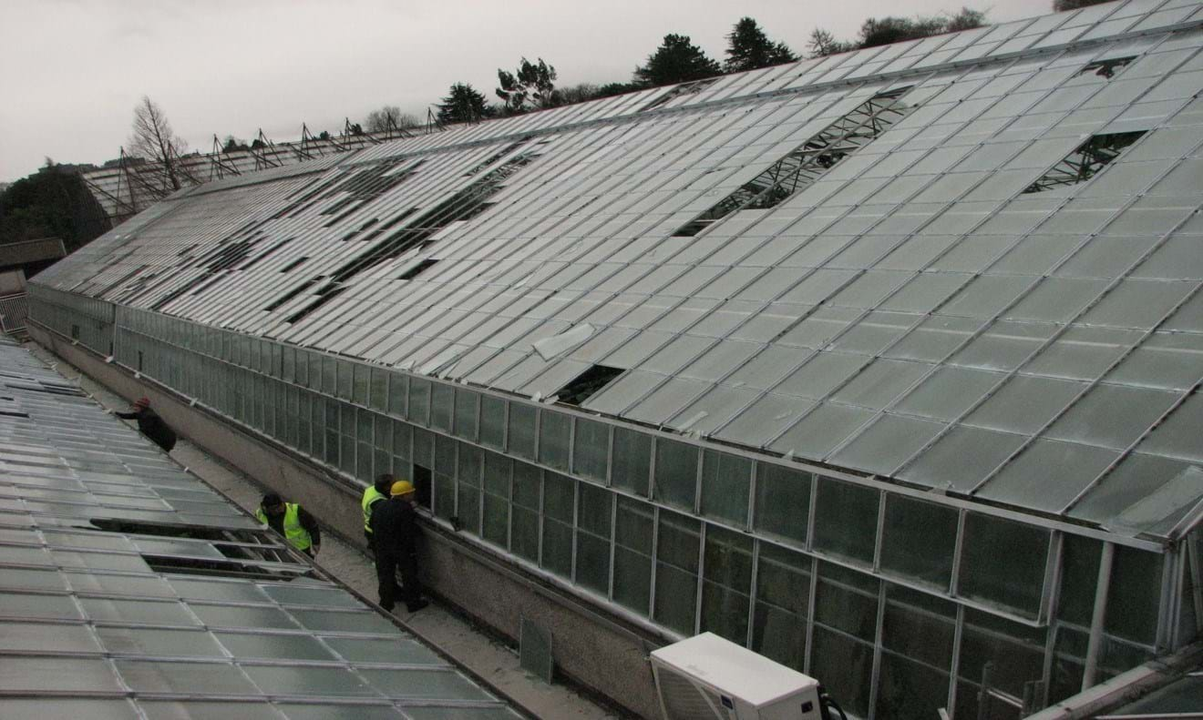 Storm damage to the Garden's Glasshouses in 2012